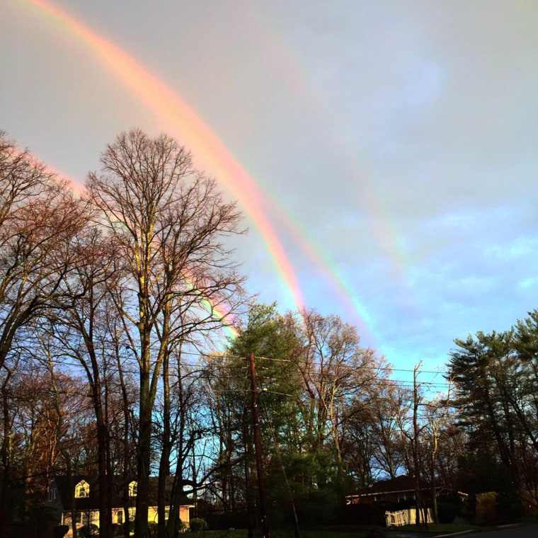Four rainbows appear in the sky over Glencove, N.Y., on April 21.