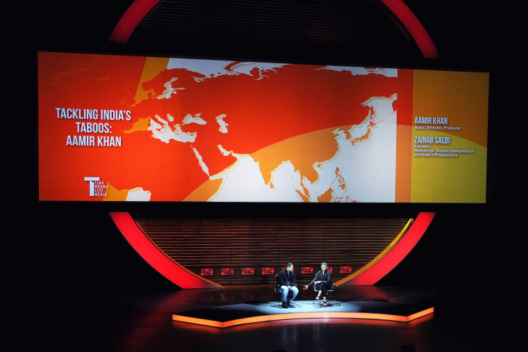 Image: Actor Aamir Khan, left, and author Zainab Salbi appear onstage during the 2015 Women In World Summit.