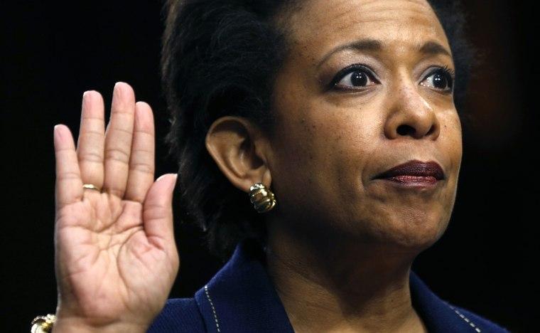 Image: File photo of Loretta Lynch testifying on Capitol Hill in Washington