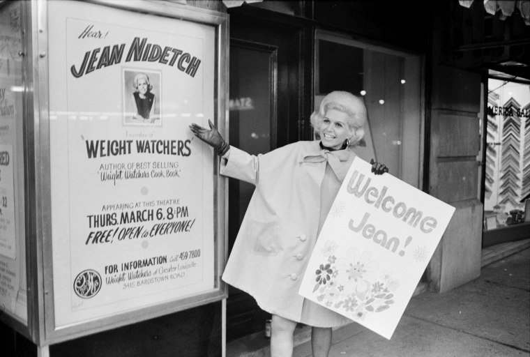 Image: Weight Watchers handout photo shows Jean Nidetch, founder of Weight Watchers International, Inc., at Times Square in New York