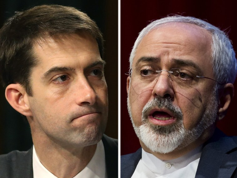 Sen. Tom Cotton and Iran's foreign minister Javad Zarif