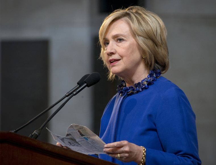 Image: Hillary Clinton addresses at 18th Annual David N. Dinkins Leadership and Public Policy Forum at Columbia University in New York