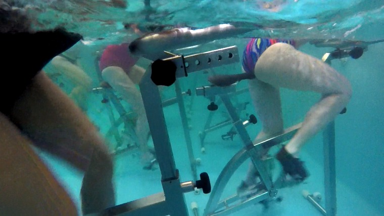 Pool cycling fitness class