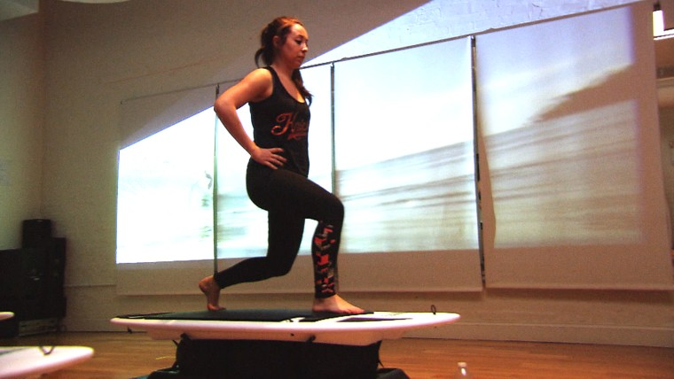 Stationary surfing fitness class