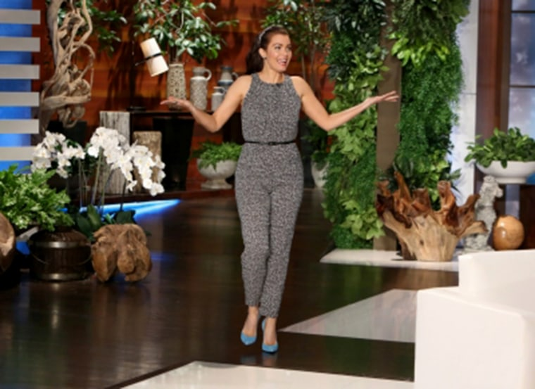 """Bellamy Young wearing a Max Mara jumpsuit on """"The Ellen DeGeneres Show"""" on March 16, 2015 in Los Angeles"""