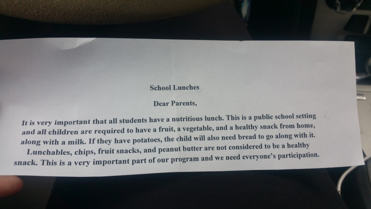 Leeza Pearson found this note in her daughter's lunchbox after sending Oreos.