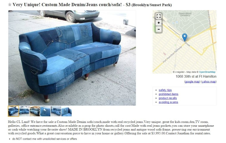 Craigslist Sofa Made From Jeans