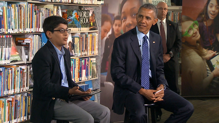 President Obama interrupted by bold kid