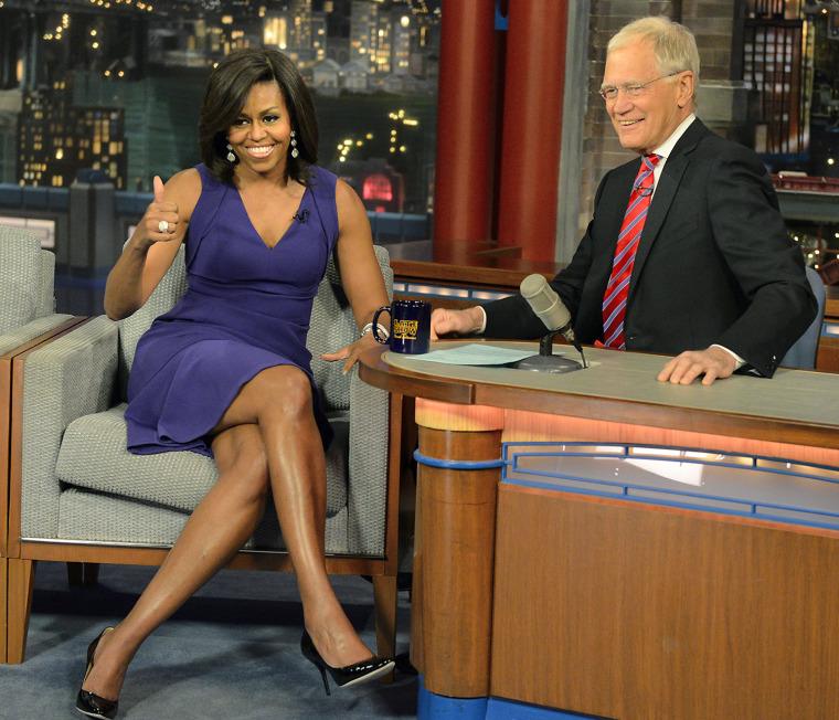 Michelle Obama and David Letterman