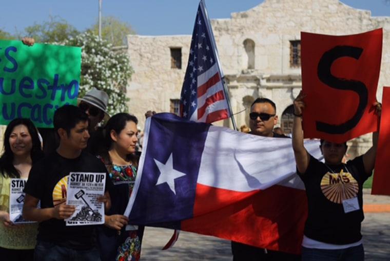 Image: Students protest Texas legislature bill
