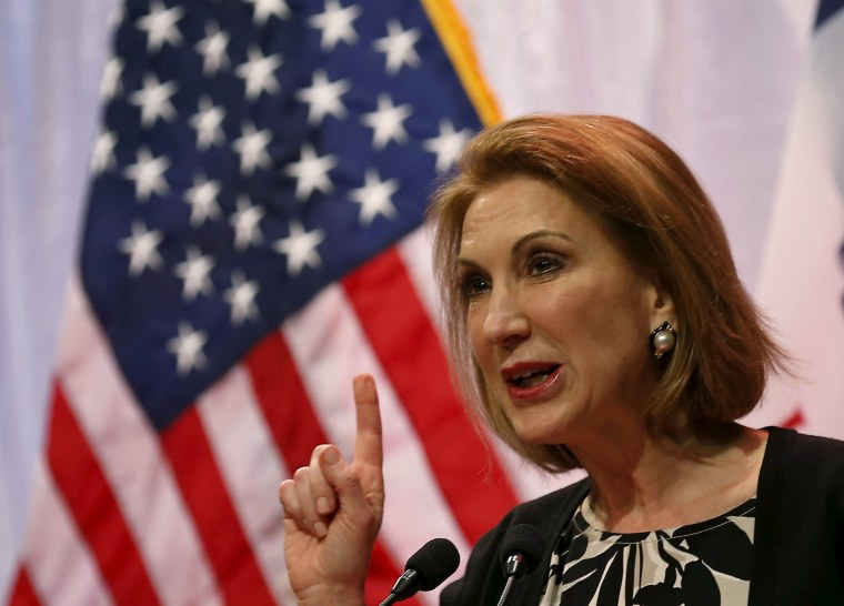 Image: Potential Republican presidential candidate Carly Fiorina speaks at the Iowa Faith and Freedom Coalition's forum in Waukee