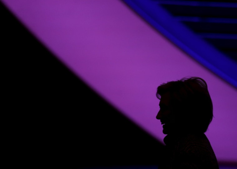 Democratic presidential candidate Hillary Clinton is seen in silhouette after delivering the keynote address at the Women in the World summit in New York April 23, 2015.   REUTERS/Shannon Stapleton