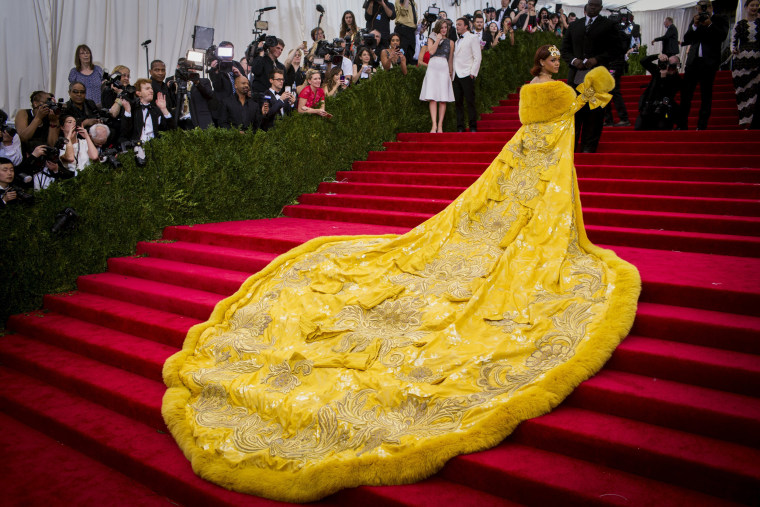 """Image: Singer Rihanna arrives at the Metropolitan Museum of Art Costume Institute Gala 2015 celebrating the opening of """"China: Through the Looking Glass"""" in Manhattan, New York"""
