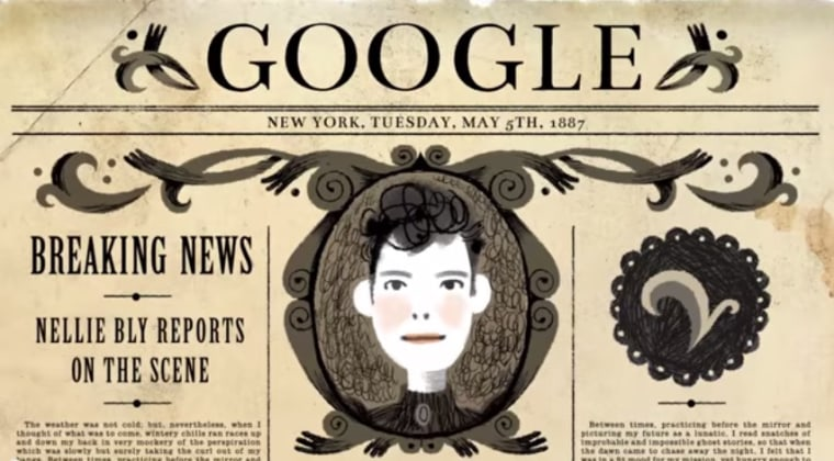 To honor Nellie Bly, the space above Google's search box is adorned with the first ever original song commissioned by Team Google Doodle, and it features a unique blend of Asian-American talents.