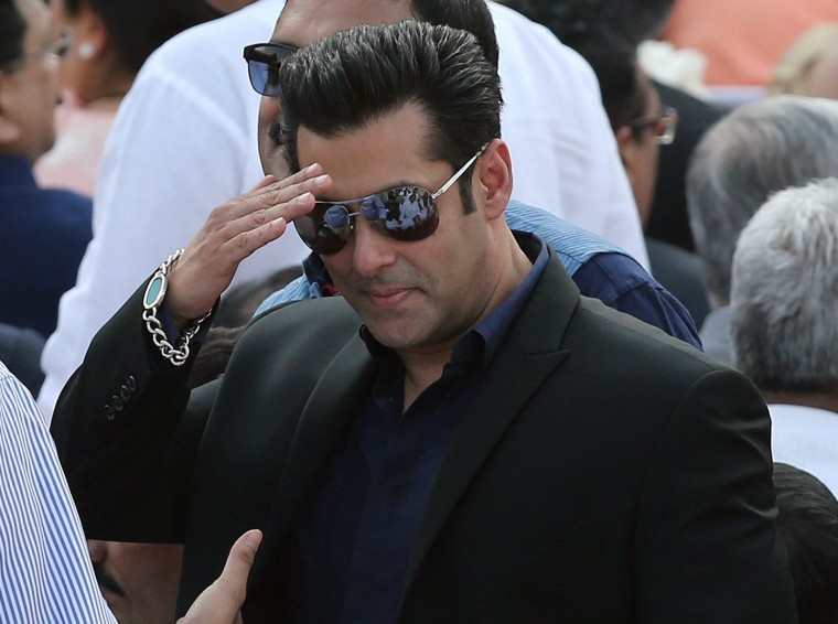 A file picture dated 26 May 2014 shows Bollywood actor Salman Khan arriving at the presidential palace in New Delhi, India.
