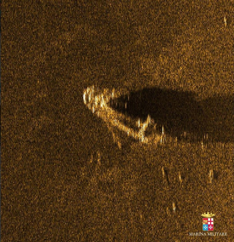 A sonar image released by the Italian Navy is believed to show the wreck of the fishing trawler that sunk off the coast of Libya on April 18, killing as many as 900 migrants.