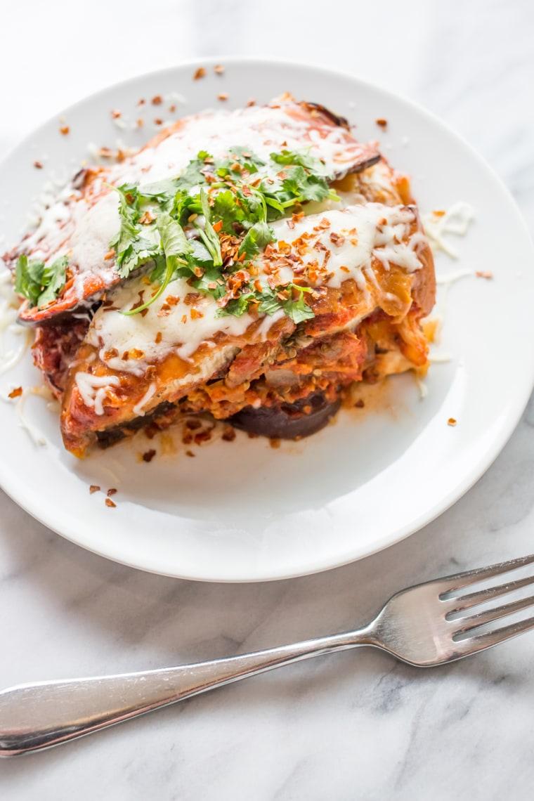Gluten-free slow-cooker eggplant lasagna