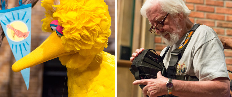 Caroll Spinney on the set of Sesame Street, portraying both Oscar the Grouch (voice only) and Big Bird