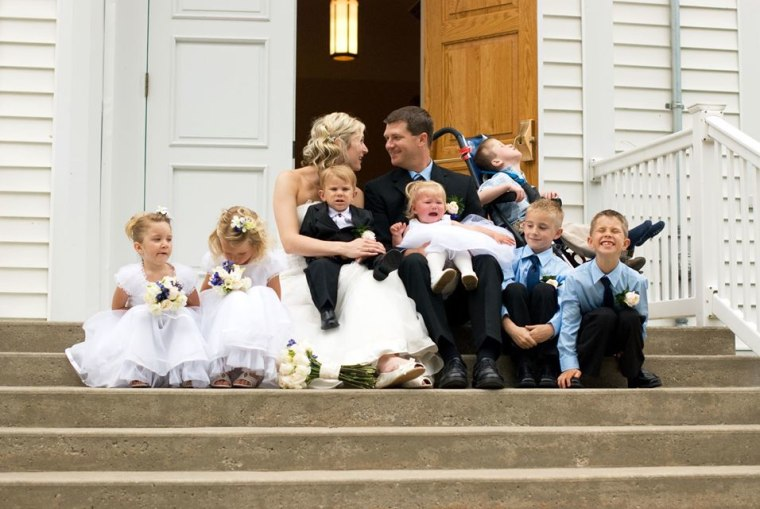 Jessica and Ryan had two weddings: one at a courthouse in April 2011, and a church wedding one month later in which their children all took part.