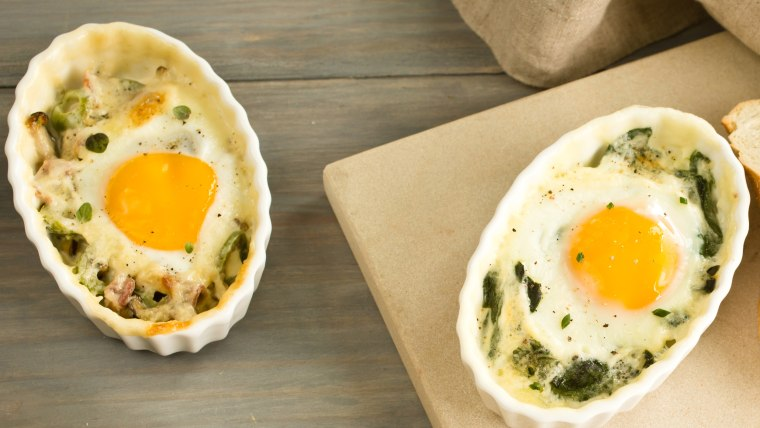 Creamy Baked Eggs with Leeks and Spinach