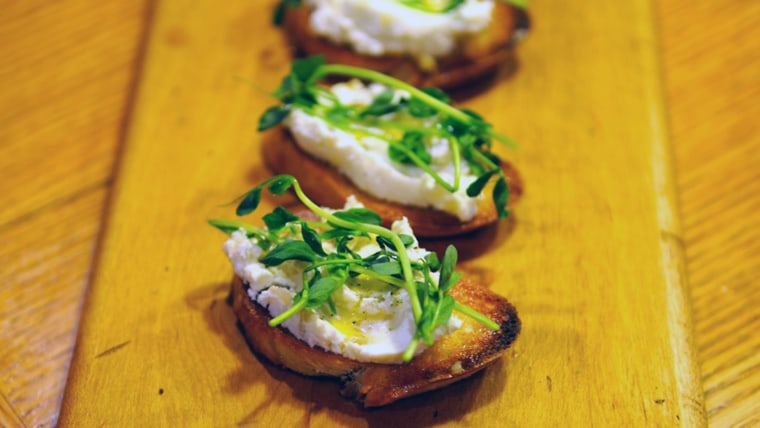 Whipped Goat Cheese with Pea Shoots