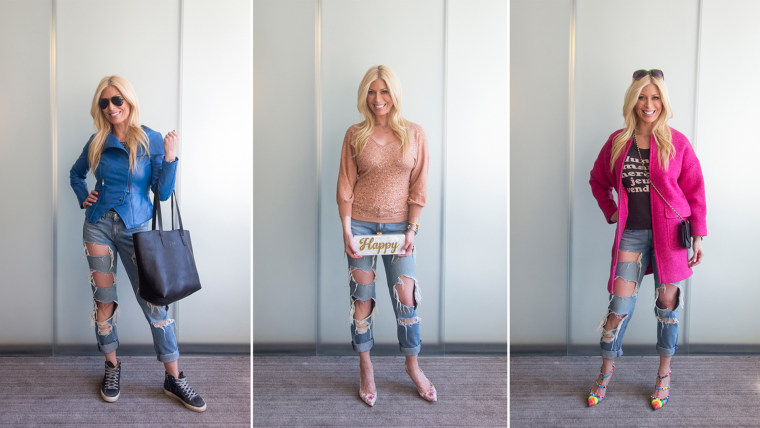 Jill Martin shows how to wear three totally different looks with one pair of boyfriend jeans
