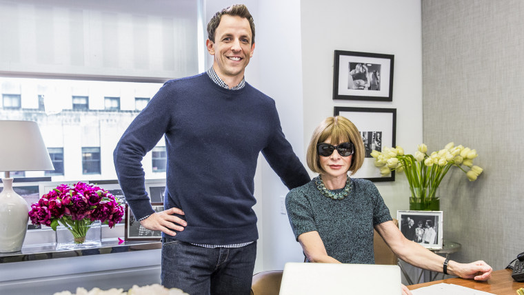 "Seth Meyers and Anna Wintour during the ""Anna Wintour: Comedy Icon"" skit May 6, 2015, Late Night with Seth Meyers - Season 2"