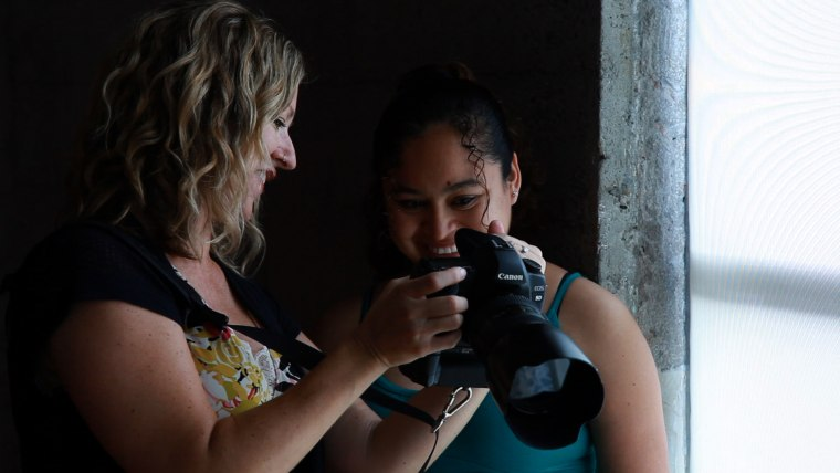 Keri Vaca photographs pregnant women for free at the Homeless Prenatal Program in San Francisco.