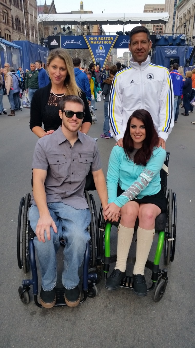 Clockwise from top left, Yara Goldstein and Matthew Goldstein, Jesi Stracham and Jordan Fallis appear at the Boston Marathon, which Matthew Goldstein ran to raise money for recipients of NeuroScaffold surgery.