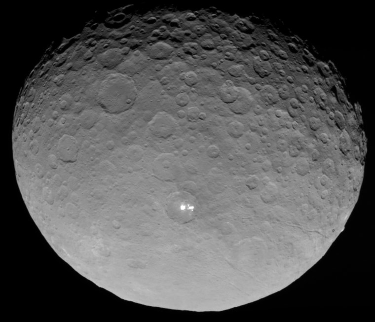 Images taken by NASA's Dawn spacecraft show bright spots on the dwarf planet Ceres.