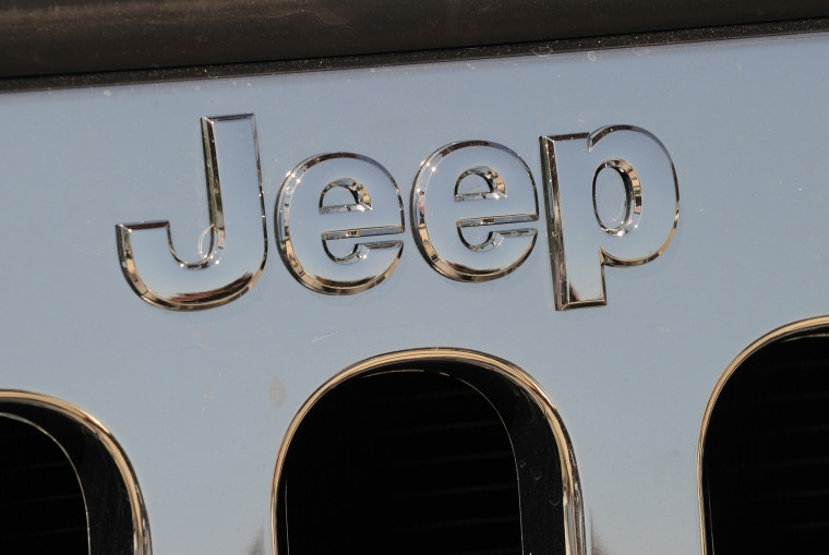Image: View of a Jeep logo at a Chrysler dealer in Los Angeles