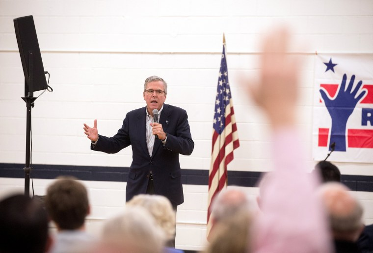 Image: Former Florida Governor Jeb Bush speaks at a town hall meeting in Reno