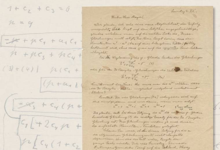 This is one of many letters that was offered for sale on Thursday. The handwritten 1932 letter was addressed to his assistant, Viennese mathematician Walther Mayer, and discusses adjustments in mathematical equations. It sold for $25,000.