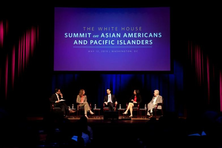 Moderator Gautam Raghavan, Secretary of Health and Human Services Sylvia Burwell, Secretary of Housing and Urban Development Julián Castro, U.S. Equal Employment Opportunity Commission Chair Jenny Yang, and Environmental Protection Agency Administrator Gina McCarthy participate in a fireside chat at the White House Summit on AAPIs, May 12, 2015.