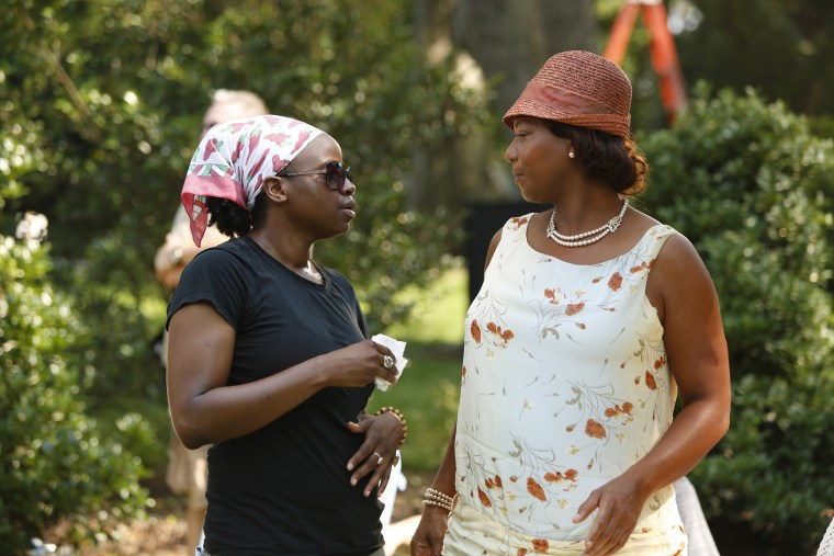 Director Dee Rees with Queen Latifah on the set of 'Bessie' which will air on HBO May 16.