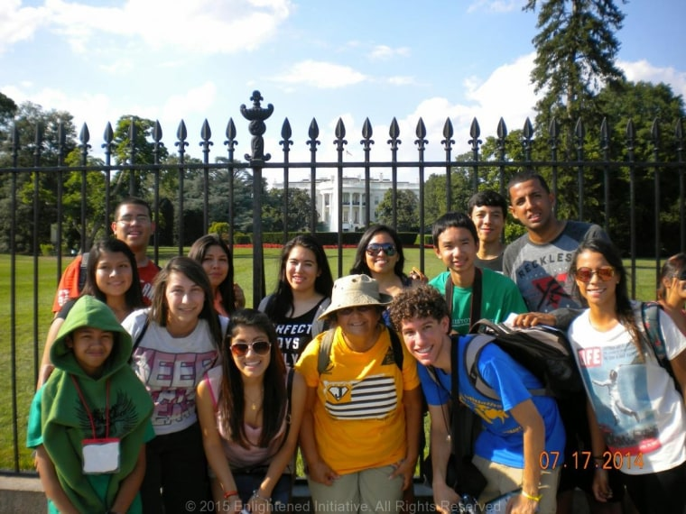 Participants in the Enlightened Initiative leadership summer camp on a group trip to Washington, D.C.