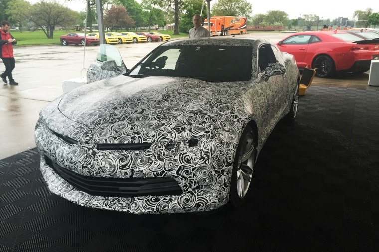 The 2016 Camaro, camo-wrapped ahead of its official debut this weekend.