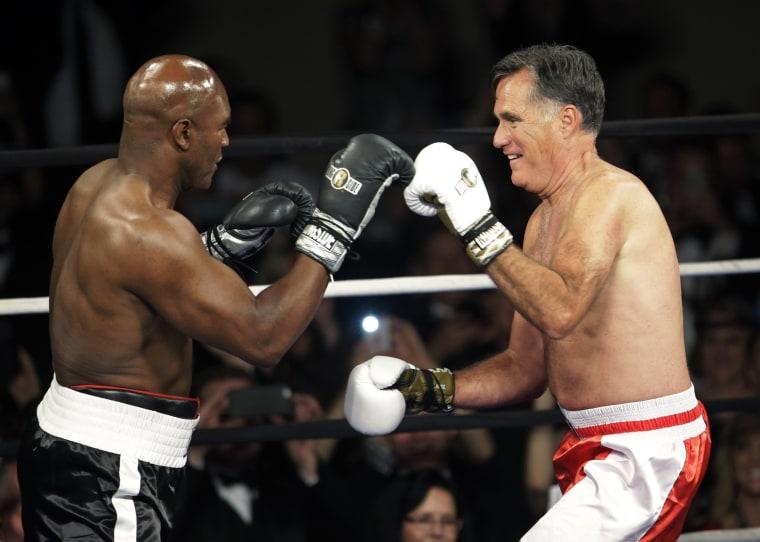 Image: Mitt Romney, Evander Holyfield
