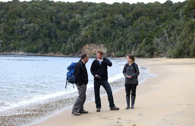 Prince Harry chats to DOC Manager Brent Beaben and Kate Richardson at Sydney Cove on Ulva Island as part of his first visit to New Zealand