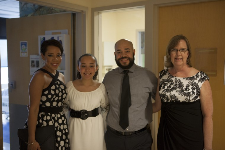 Selenis Levya, her daughter Alina, Arnol Levya, and Montefiore Hospital's Meghan Kelly attend the May 9 event.