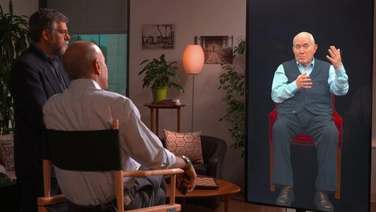 A hologram of a holocaust survivor