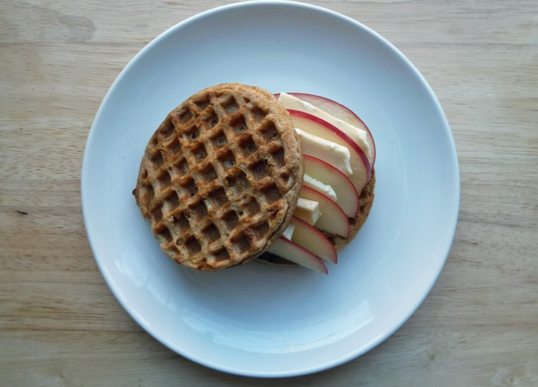 Waffle sandwich with apple and brie