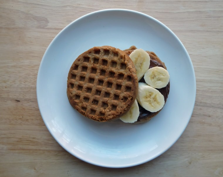 Waffle sandwich with Nutella and banana