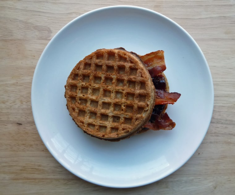 Waffle sandwich with bacon and jam
