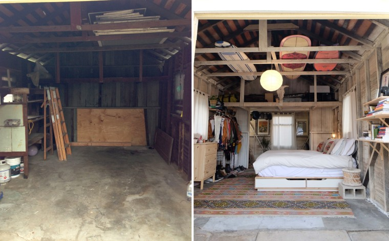 On the left is the garage before Brooke moved in. On the right is how it looks today.