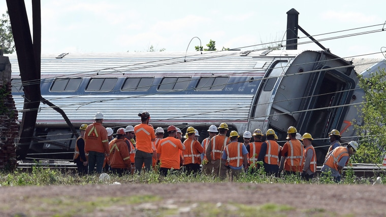 Derailed carriage of an Amtrak train