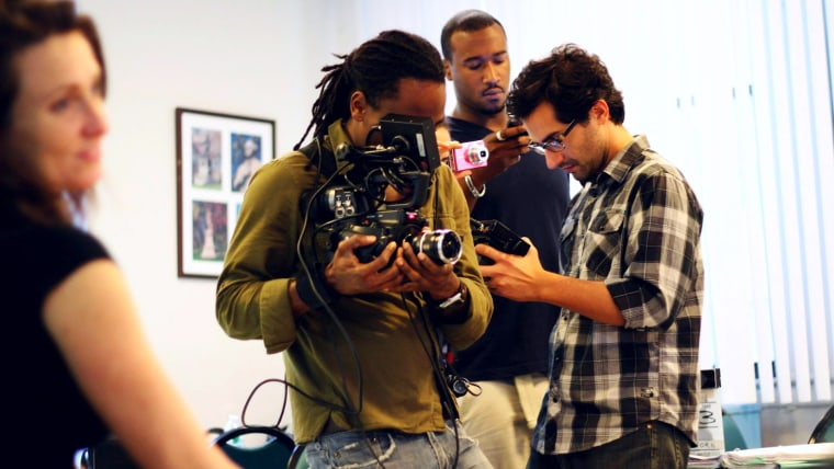 """Director Juan Carlos Piñeiro Escoriaza on the set of """"Know How"""" with his crew."""