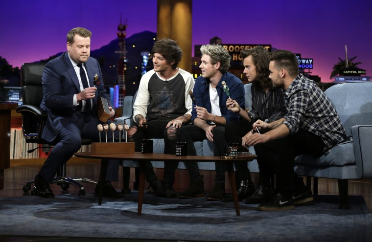 "One Direction members Liam Payne, Harry Styles, Louis Tomlinson and Niall Horan join James Corden\'s Dodgeball appear on ""The Late Late Show with James Corden"""