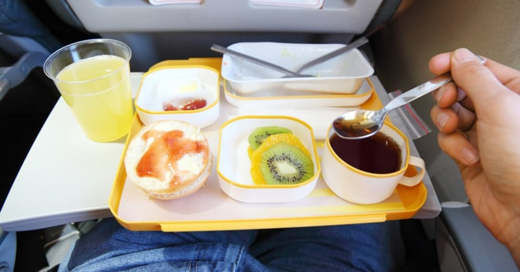 Airplane food tray with drinks
