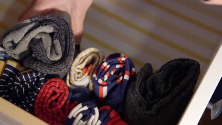 Image: socks folded the Konmari way